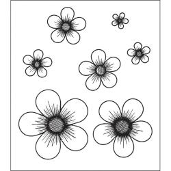 Heartfelt Creations Posy Patch Flowers Cling Rubber Stamp