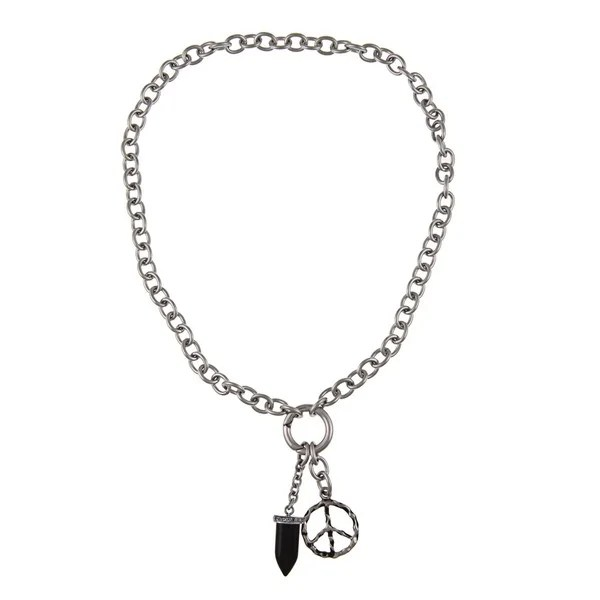 Shop Stainless Steel Men's Peace Sign and Black Onyx Fang