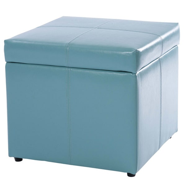 square teal blue cube storage ottoman by christopher knight home