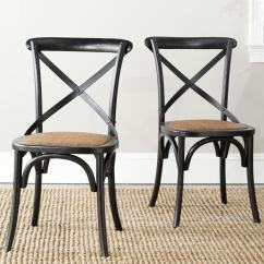 Farmhouse Dining Chairs Round Back Room Shop Safavieh Country Bradford X Antiqued Black Set Of 2