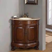 Silkroad Exclusive Single Sink 32-inch Travertine Top ...