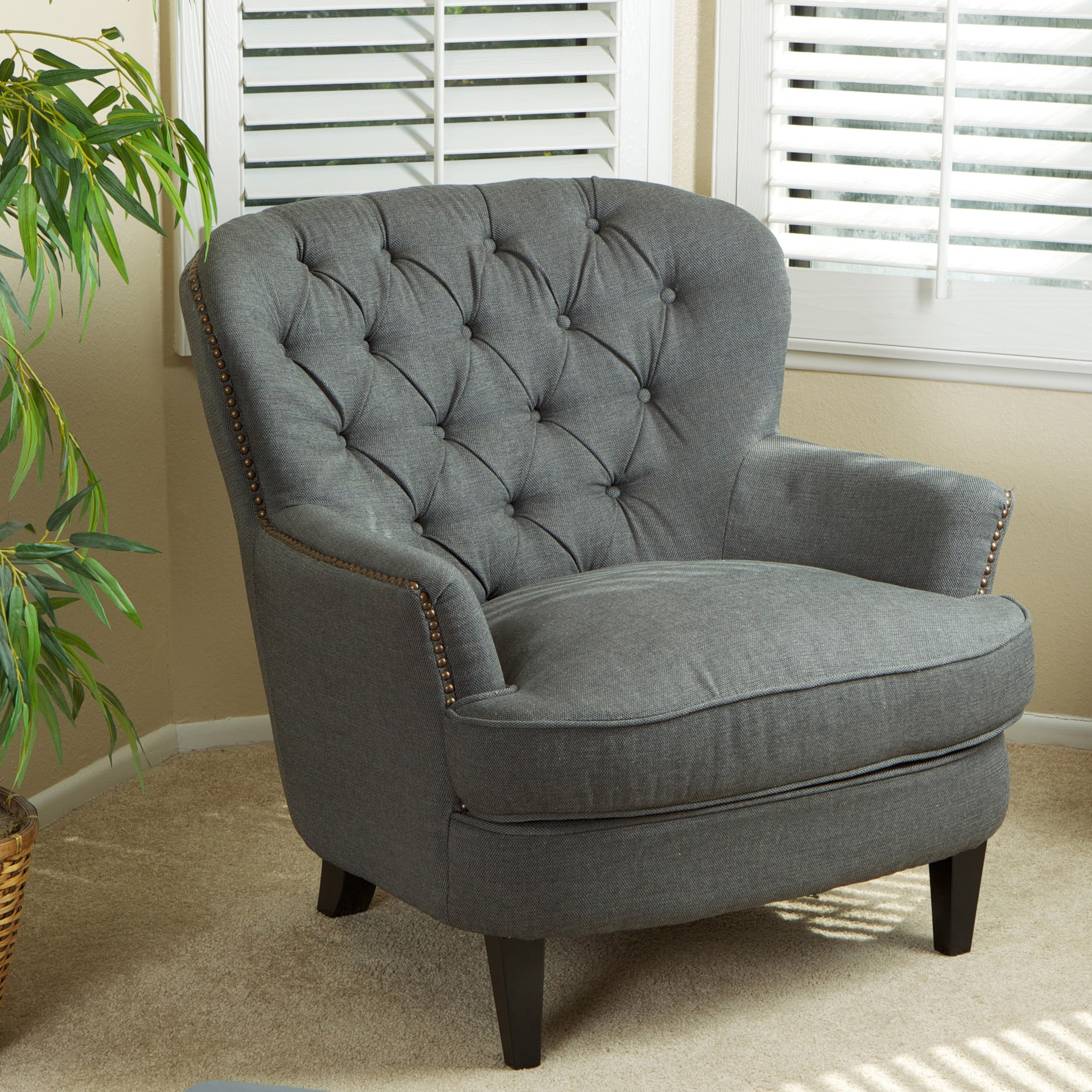 overstock com chairs all terrain electric wheelchair christopher knight home tafton tufted grey fabric club