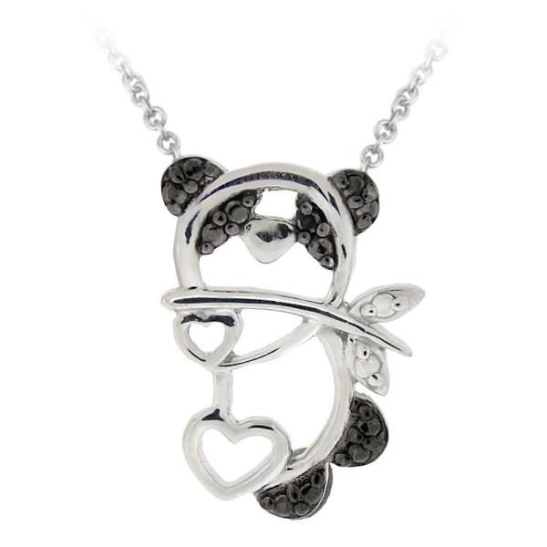 Db Design Sterling Silver Black Diamond Accent Panda Bear Heart Necklace - Free Shipping