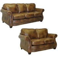 Sterling Cognac Brown Italian Leather Sofa and Loveseat ...