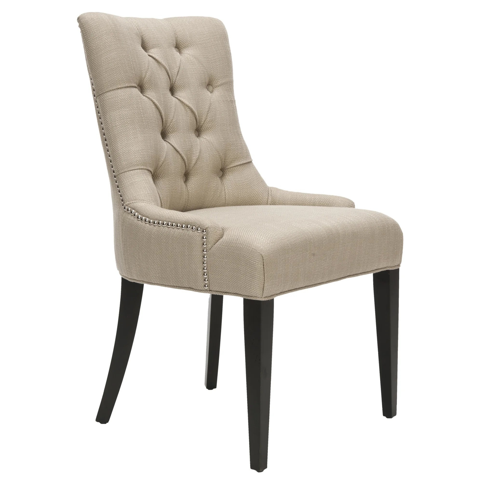 Overstock Chairs Safavieh Nimes Beige Tufted Linen Side Chair Overstock