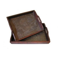 Solid Decorative Cedar Wood Food Serving Tray Set