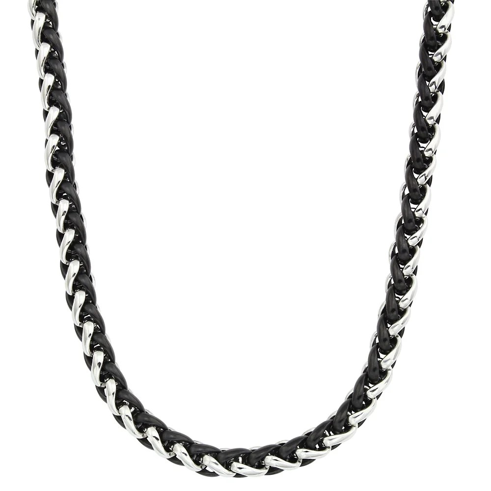 Two-tone Stainless Steel Men's 24-inch Wheat Chain