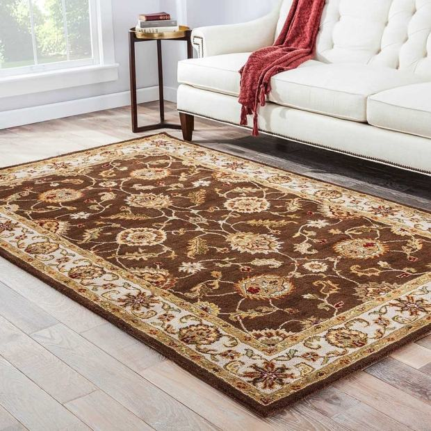 Lucina Handmade Floral Brown/ Gold Area Rug (10' X 14') - 10' x 14'