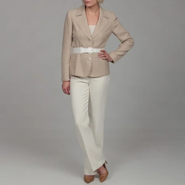 Shop Tahari Womens Beige Three Button Belted Pant Suit