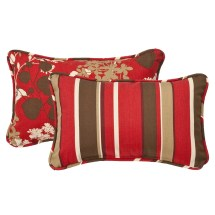 Pillow Perfect Decorative Reversible Red Brown Floral
