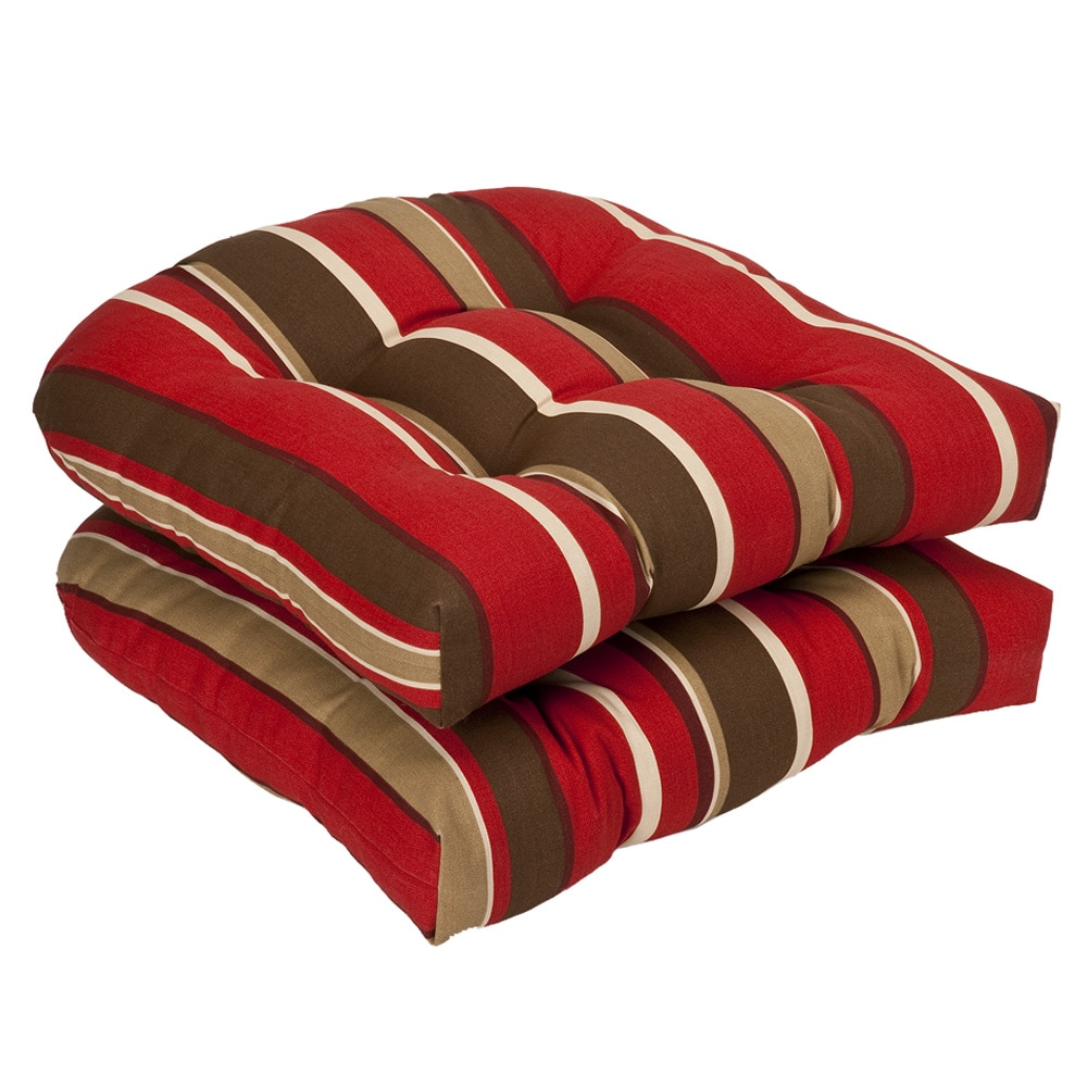 Patio Chair Replacement Cushions Pillow Perfect Outdoor Red Brown Striped Seat Cushions Set Of 2