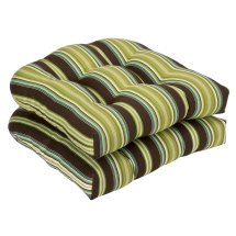 Pillow Perfect Outdoor Brown Green Striped Wicker