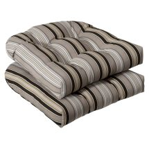 Pillow Perfect Outdoor Black Beige Striped Seat Cushions