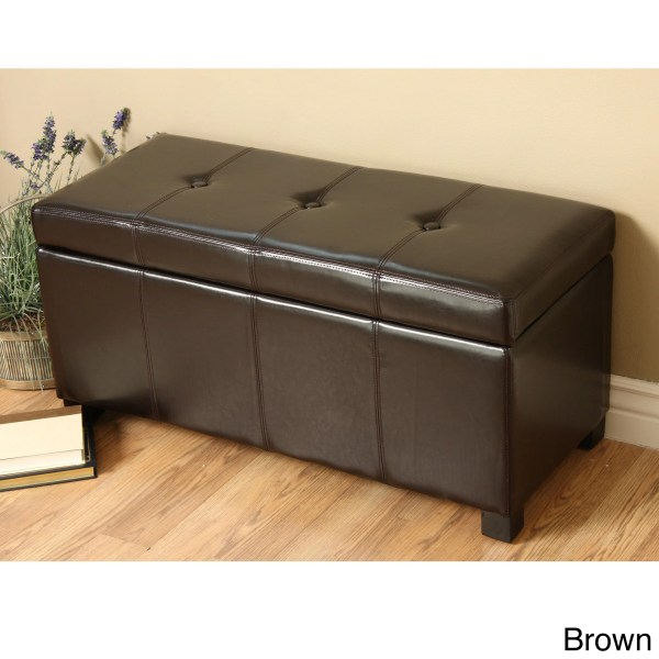 Modern Faux Leather Storage Bench Living Room Accent Furniture Great Home
