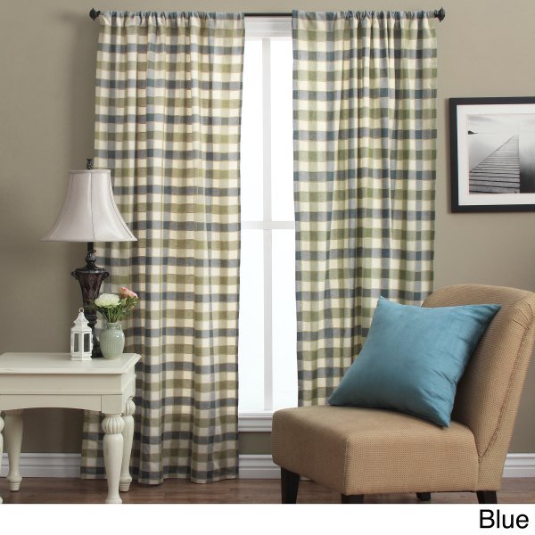 Plymouth 72- Plaid Woven Tailored Curtain Panels Set Of 2 - Shopping Great