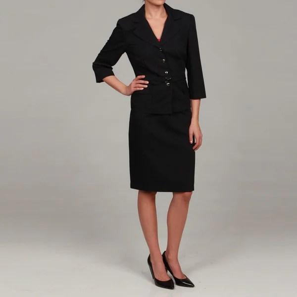 Sweet Womens Dark Navy Blue Belted Skirt Suit  13964133