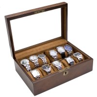 Shop Vintage Brown Finish Wood Glass Top Watch Case w ...