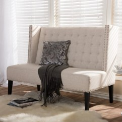 Living Room Settee Benches Pictures With Leather Furniture 2 Shop Owstynn Beige Linen Modern Bench Free Shipping Today