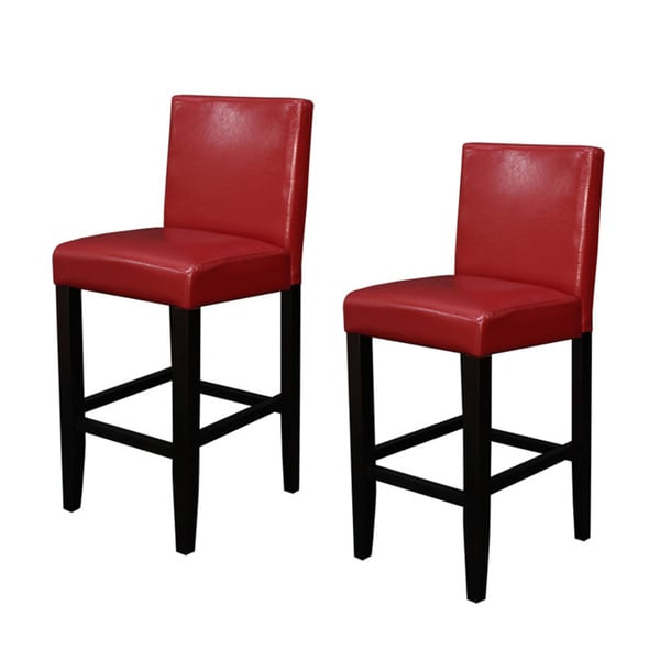red kitchen stools Faux Leather Red Counter Stools Set of 2 Dining Room Bar
