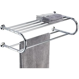 Chrome Wall Mounting Shelf Towel Rack - Silver