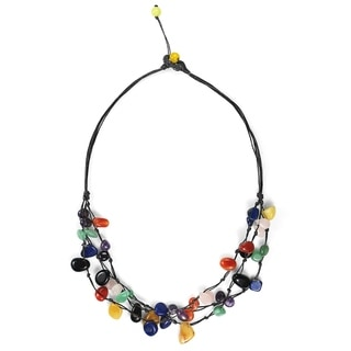 Cotton Rope Mod Reconstructed Turquoise Layered Necklace