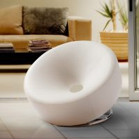 Shop Modern Round White Bonded Leather Accent Chair by ...