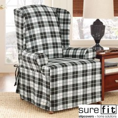 Sure Fit Slipcovers Wing Chair Haworth Office Chairs Soft Suede Plaid Slipcover - Free Shipping Today Overstock.com 13993285