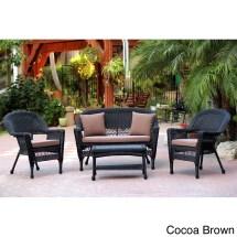 Black Wicker 4-piece Patio Conversation Set