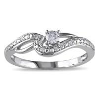 Shop Miadora 10k White Gold 1/6ct TDW Diamond Infinity ...