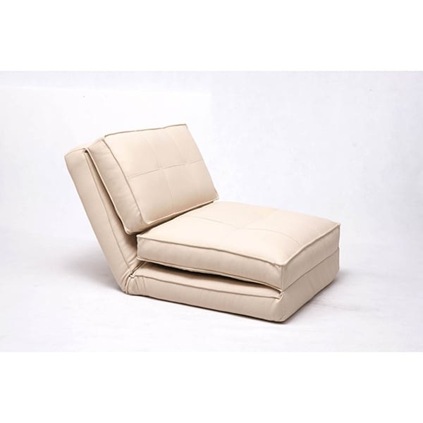 Baltimore Cream Faux Leather Convertible Chair Bed Free