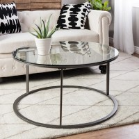 Shop Clay Alder Home Round Glass Top Metal Coffee Table