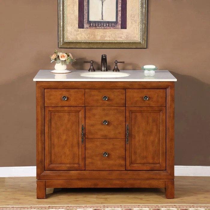 Silkroad Exclusive Natural Stone Countertop Lavatory Single Sink Cabinet Vanity 42inch