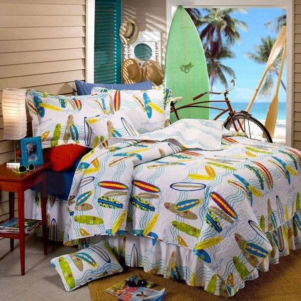 Surfboard 5piece Twinsize Quilt Set  Free Shipping