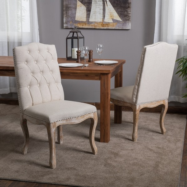 beige dining chairs bathroom vanity shop weathered hardwood studded chair by christopher knight home set of 2