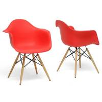 Shop Pascal Red Plastic Mid-Century Modern Shell Chairs ...