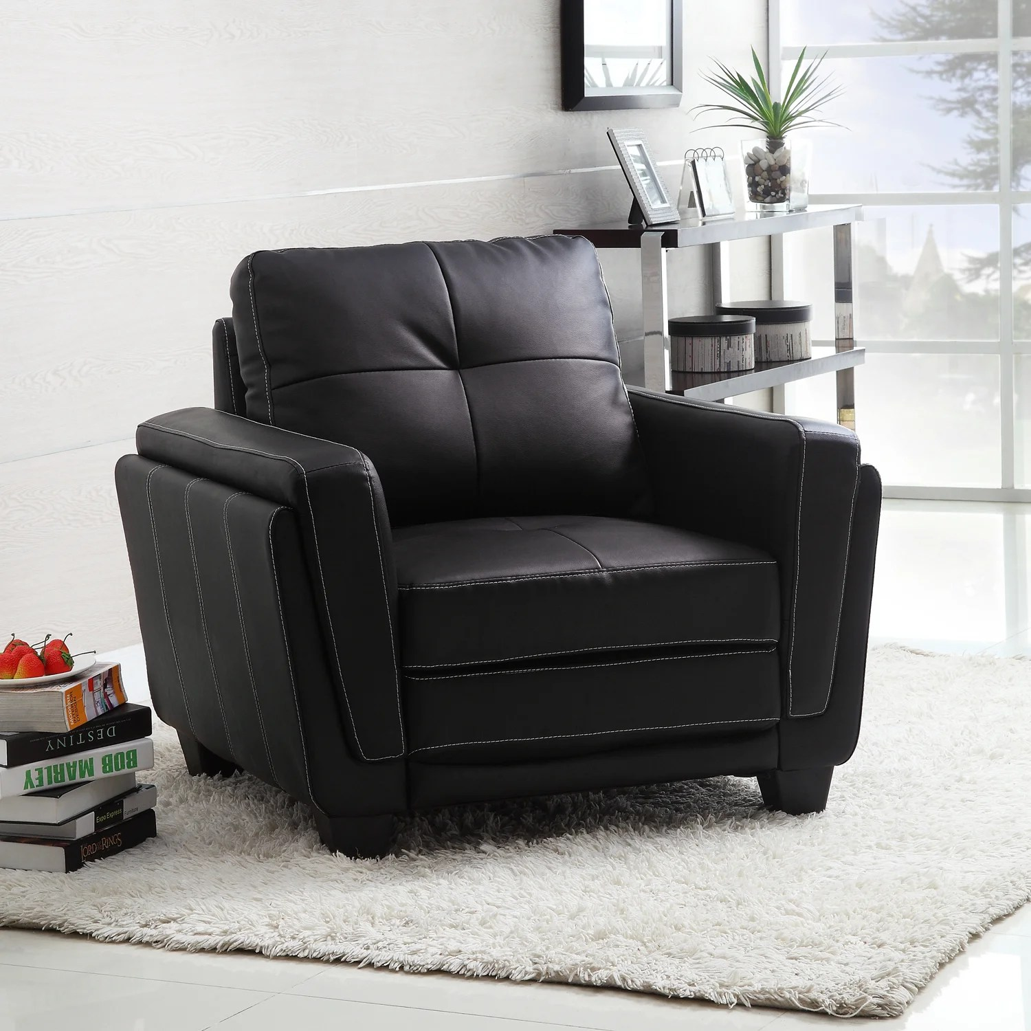 tribecca home eland black bonded leather sofa set covering service leah faux low profile chair 14049296