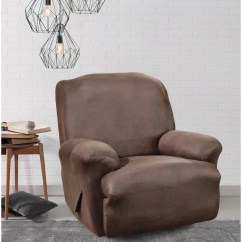 Faux Leather Recliner Chair Covers Babyhome High Shop Sure Fit Brown Stretch Slipcover - Free Shipping Today Overstock ...