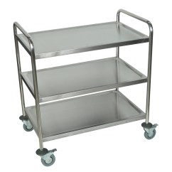 Stainless Steel Kitchen Cart Table Top Luxor Silver Three Shelf Rolling
