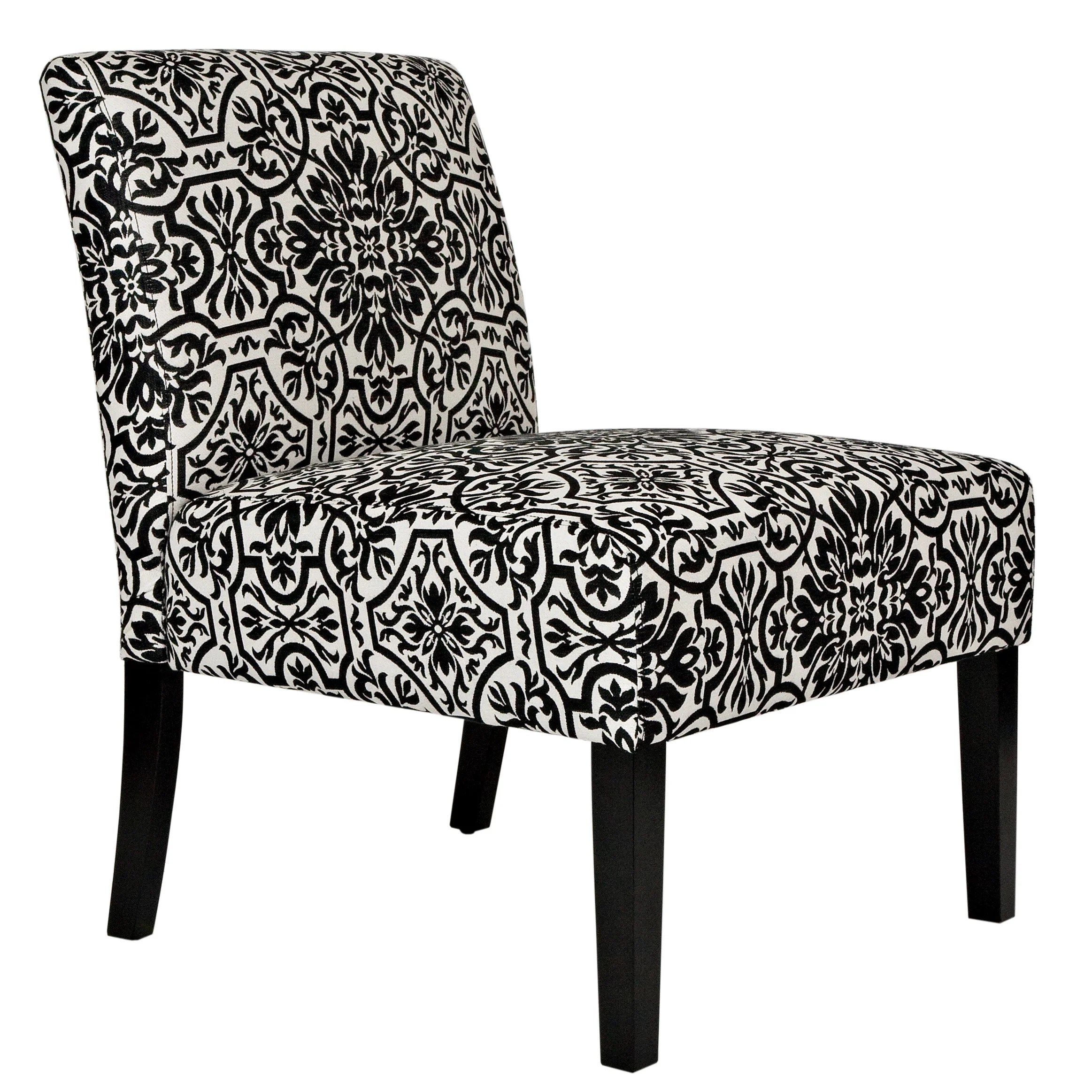 damask accent chair navy blue wingback slipcover angelo home bradstreet black and white upholstered