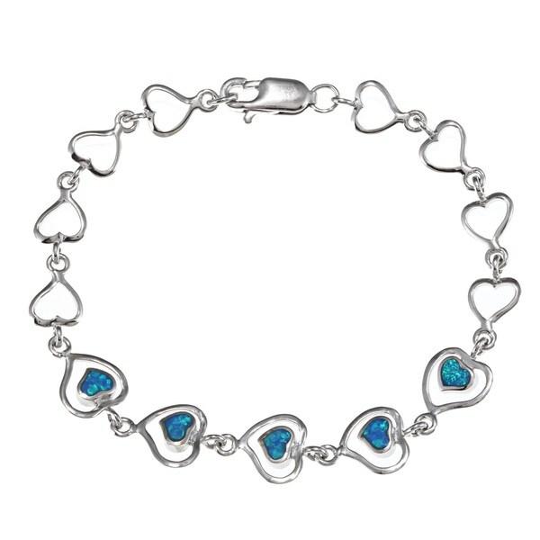 Shop La Preciosa Sterling Silver Created Blue Opal Heart