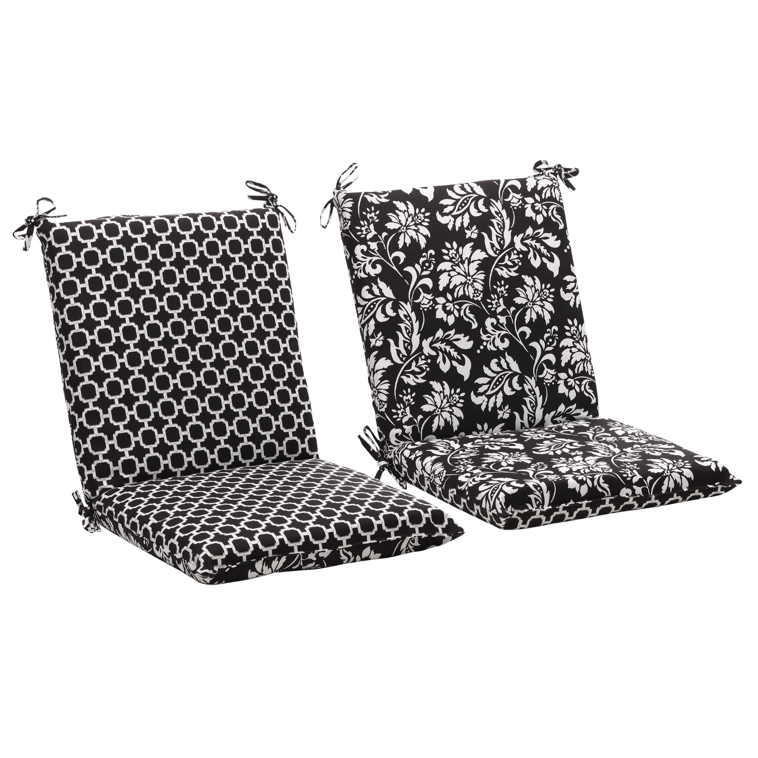 black chair cushions leather squared reversible white geometric floral outdoor