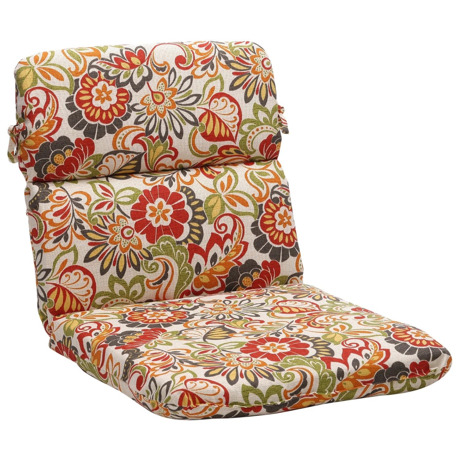 Floral Chair Shop Rounded Multicolored Floral Outdoor Chair Cushion