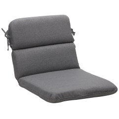 Grey Chair Cushions Covers For Sporting Events Shop Rounded Solid Gray Textured Outdoor Cushion