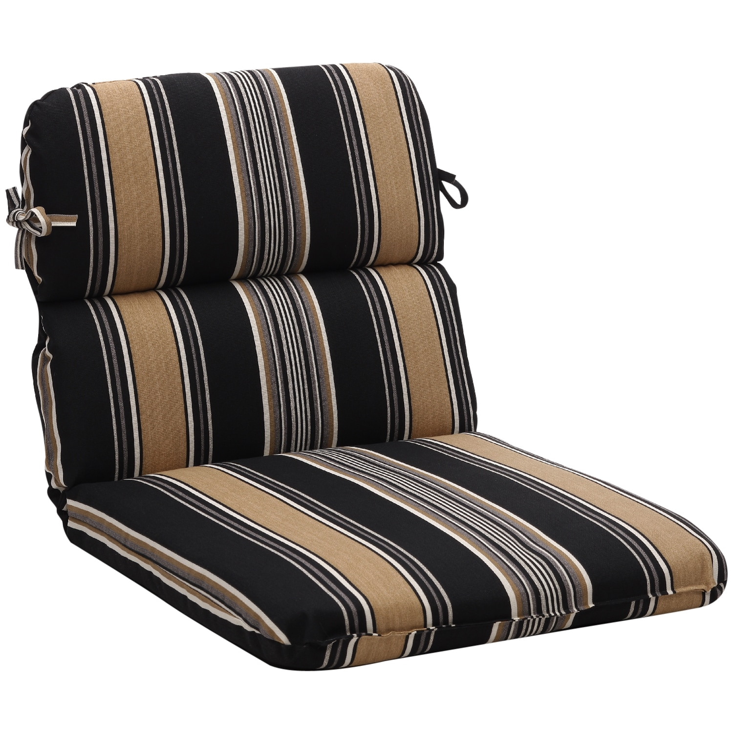 black chair pads old wooden dining chairs for sale rounded tan stripe outdoor cushion free