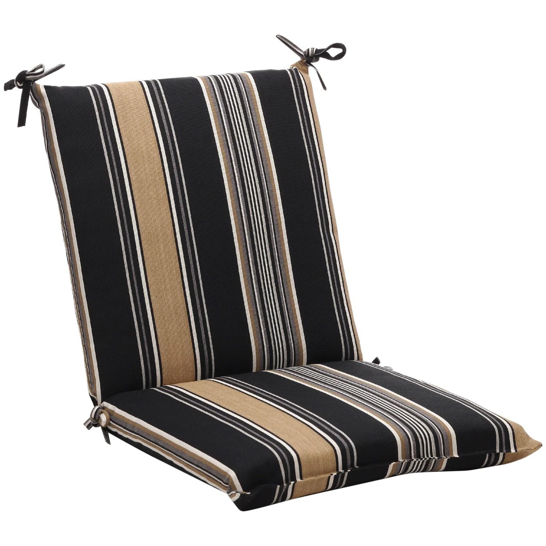 Squared BlackTan Stripe Outdoor Chair Cushion Free