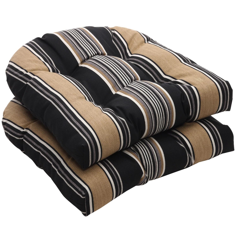 black chair cushions alberta covers plus ltd. edmonton ab outdoor and tan stripe wicker seat set of
