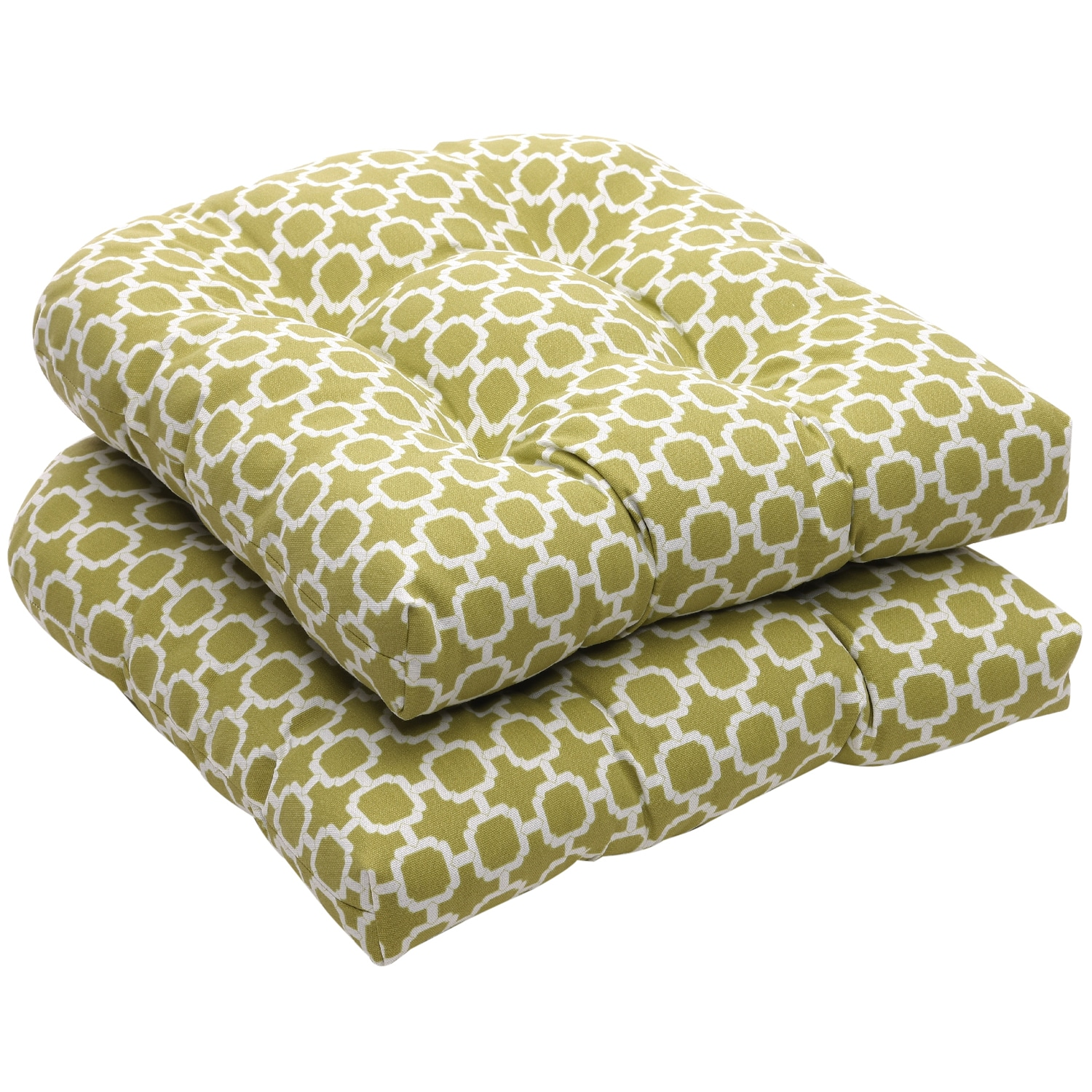 green chair cushions aluminium sling chairs shop outdoor and white geometric wicker seat