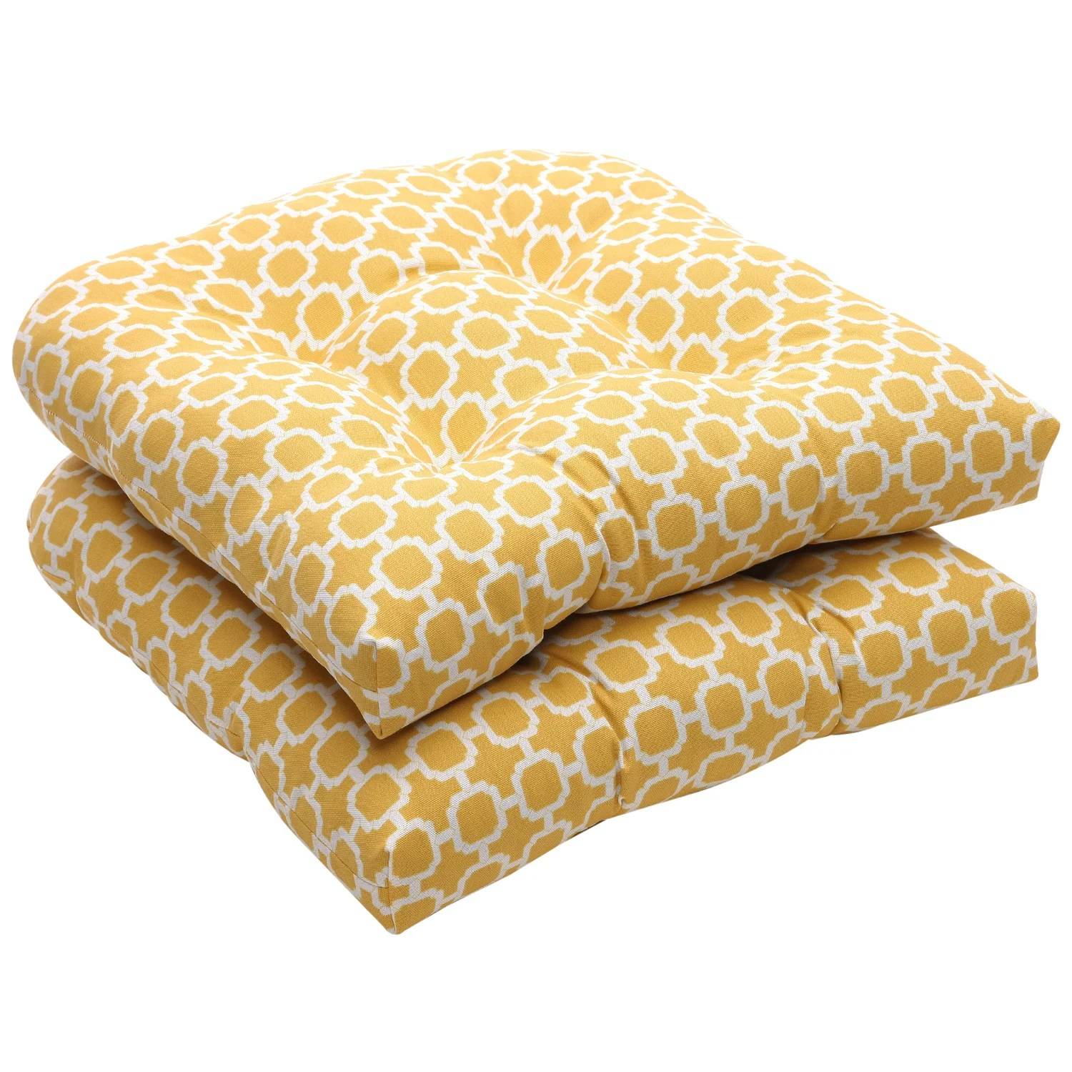Shop Outdoor Yellow and White Geometric Wicker Seat