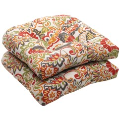 Garden Chair Cushions Big Round Bamboo Outdoor Multicolored Floral Wicker Seat Set Of 2