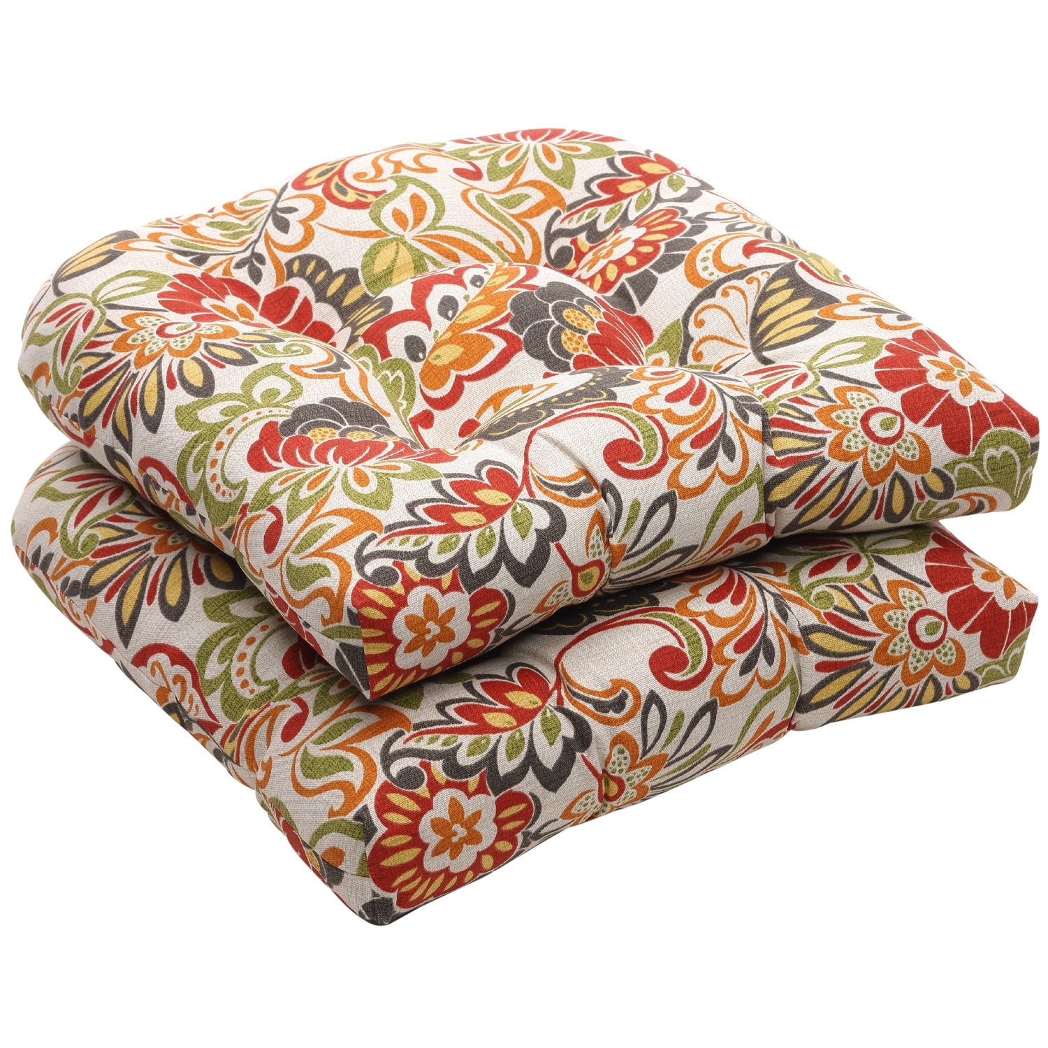 Pillows For Chairs Outdoor Multicolored Floral Wicker Seat Cushions Set Of 2